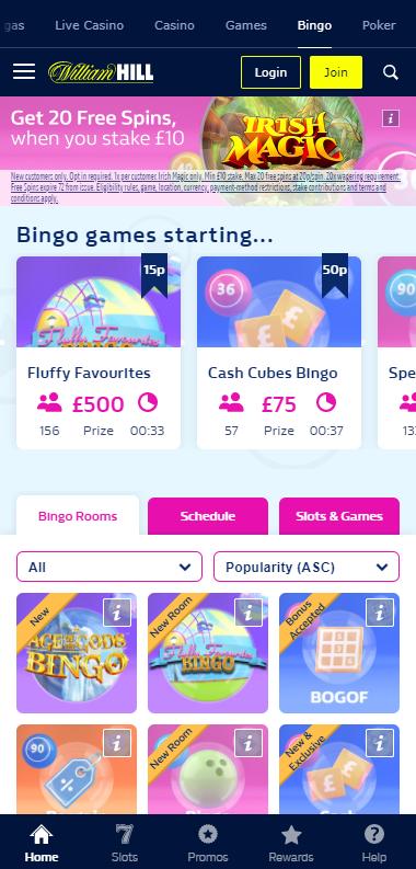 William Hill Bingo Application