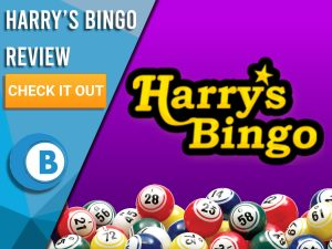 "Purple background with bingo balls and Harry's Bingo logo. Blue/white square with text ""Harry's Bingo Review"", CTA below and Boomtown Bingo logo."