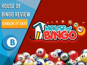 "Red background with Bingo Balls and House of Bingo logo. Blue/white square to left with text ""House of Bingo Review"", CTA below and Boomtown Bingo logo."