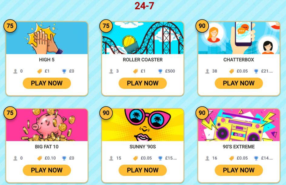 888 Bingo 24/7 Bingo Games