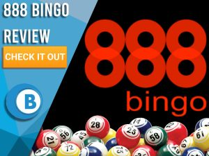 "Black background with bingo balls and 888 Bingo logo. Blue/white square with text to left ""888 Bingo Review"", CTA below and Boomtown Bingo logo."