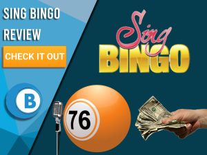 """Navy background with microphone, bingo ball, money in hand and Sing bingo logo. Blue/white square to left with text """"Sing Bingo Review"""", CTA below and Boomtown Bingo logo underneath."""
