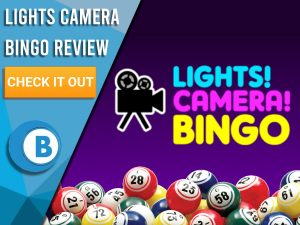 "Black/purple background with bingo balls and Lights Camera Bingo logo. Blue/white square to left with text ""Lights Camera Bingo Review"", CTA below and Boomtown Bingo logo."