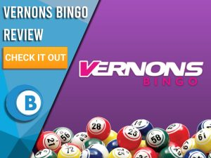 "Purple background with bingo balls and Vernons bingo logo. Blue/white square to left with text ""Vernons Bingo Review"", CTA below and Boomtown Bingo logo."