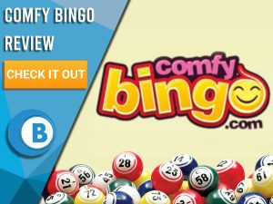 """Yellow background with Comfy Bingo logo and bingo balls. Blue/white square to left with text """"Comfy Bingo Review"""", CTA below and Boomtown Bingo logo."""