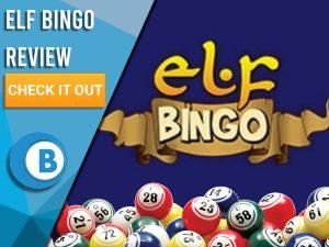 "Dark Blue background with bingo balls and Elf Bingo logo. Blue/white square to left with text ""Elf Bingo Review"", CTA below and Boomtown Bingo logo."
