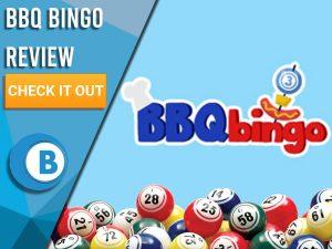 "Light blue background with bingo balls and BBQ bingo logo. Blue/white square to left with text ""BBQ Bingo Review"", CTA below and Boomtown Bingo logo beneath."