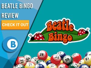 """Turquoise background with bingo balls and Beatle bingo logo. Blue/white square to left with text """"Beatle Bingo Review"""", CTA below and Boomtown Bingo logo."""