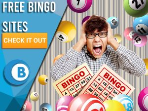 """Background of wallpaper, bingo balls raining, man excited and free bingo cards. Blue/white square to left with text """"Free Bingo Sites"""", CTA below and BoomtownBingo logo under that."""