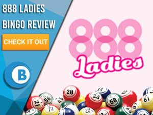 "Pink background with bingo balls and 888 Ladies Bingo logo. Blue/white square to left with text ""888 Ladies Bingo Review"", CTA below and Boomtown Bingo logo."