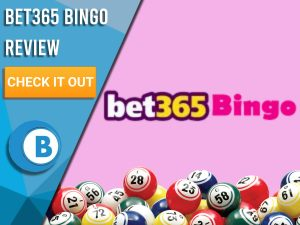 "Pink background with bingo balls and bet365 logo. Blue/white square to left with text ""Bet365 Bingo Review"", CTA below and Boomtown Bingo logo."