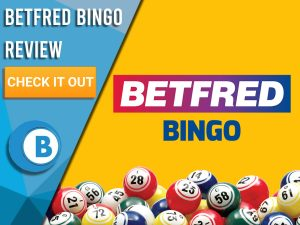 "Yellow background with bingo balls and Betfred Bingo Logo. Blue/white square to left with text ""Betfred Bingo Review"", CTA below and Boomtown Bingo logo."