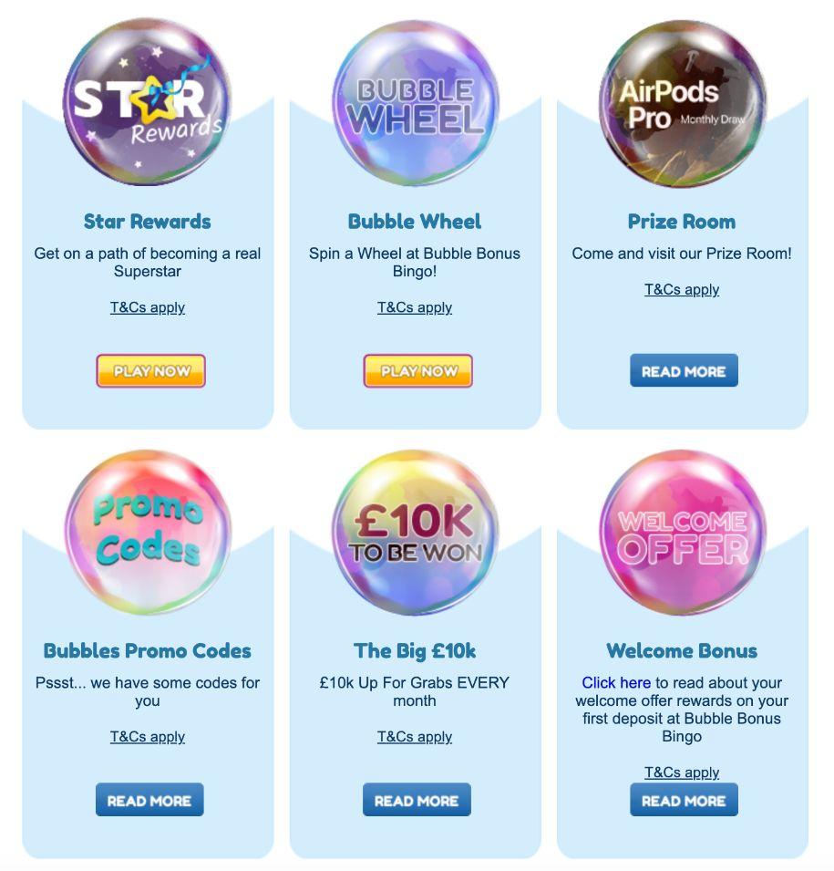 Bubble Bonus Bingo Online Promotions