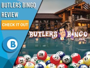 "Background of mansion, bingo balls and Butlers Bingo logo. Blue/white square to left with text ""Butlers Bingo Review"", CTA below and Boomtown Bingo logo beneath."