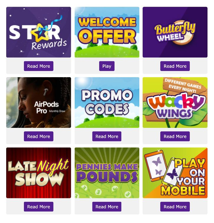 Butterfly Bingo Website Promotions