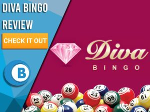 "Maroon background with Bingo balls and Diva Bingo logo. Blue/white square to left with text ""Diva Bingo Review"", CTA below and Boomtown Bingo logo beneath."