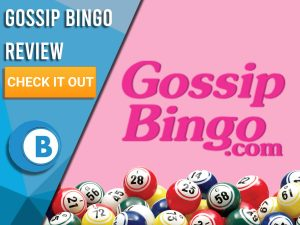 "Pink background with bingo balls and Gossip bingo logo. Blue/white square with text ""Gossip Bingo Review"", CTA below and Boomtown Bingo logo."