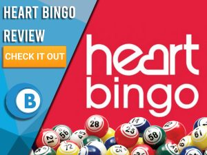 "Red background with bingo balls and Heart Bingo logo. Blue/white square to left with text ""Heart Bingo Review"", CTA below and Boomtown Bingo logo."