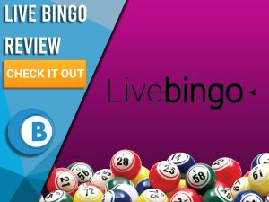 "Purple background with bingo balls and Live Bingo Logo. Blue/white square to left with text ""Live Bingo Review"", CTA below and Boomtown Bingo logo."