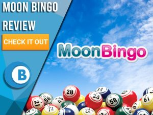"Sky background with bingo balls and Moon Bingo logo. Blue/white square to left with text ""Moon Bingo Review"", CTA below and Boomtown Bingo logo."