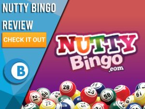 "Red/purple background with bingo balls and Nutty Bingo logo. Blue/white square to left with text ""Nutty Bingo Review"", CTA below and Boomtown Bingo logo."