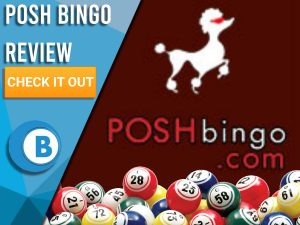 "Dark Red background with bingo balls and Posh Bingo logo. Blue/white square to left with text ""Posh Bingo Review"", CTA below and Boomtown Bingo logo."