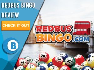 "Background of London with Bingo balls and RedBus Bingo Logo. Blue/white square to left with text ""RedBus Bingo Review"", CTA below and Boomtown Bingo Logo Beneath."