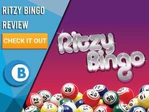 "Red/purple background with Bingo Balls and Ritzy Bingo logo. Blue/white square to left with text ""Ritzy Bingo Review"", CTA below and Boomtown Bingo logo."