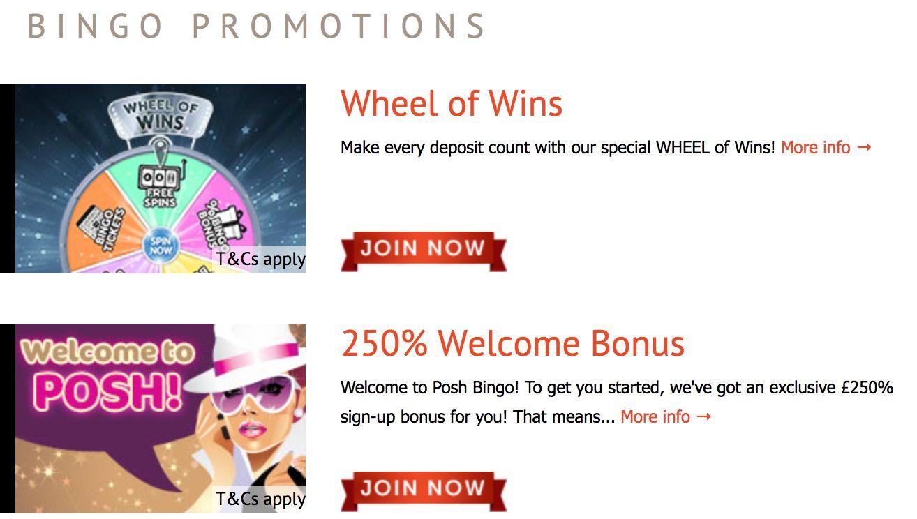 Posh bingo promotions