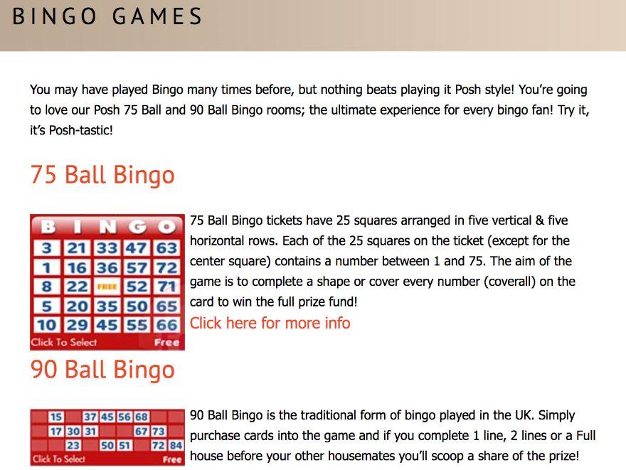posh bingo bingo games