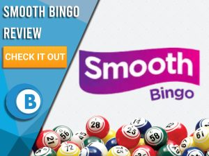 """White background with bingo balls and Smooth Bingo logo. Blue/white square to left with text """"Smooth Bingo Review"""", CTA below and Boomtown Bingo logo."""