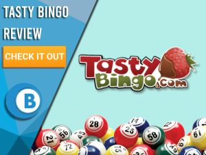 """Turquoise background with bingo balls and Tasty Bingo logo. Blue/white square to left with text """"Tasty Bingo Review"""", CTA below and Boomtown Bingo logo."""
