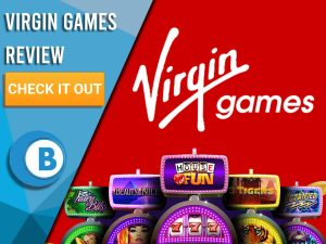 """Red Background with slot machines and Virgin Games logo. Blue/white square to left with text """"Virgin Games Review"""", CTA and Boomtown Bingo logo."""