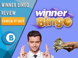 """Purple background with man crossing fingers, hand giving money to man and Winner Bingo logo. Blue/white square to left with text """"Winner Bingo Review"""", CTA below it and Boomtown Bingo logo underneath."""