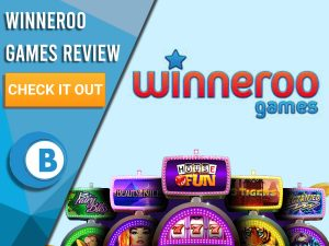"""Blue background with slot machines and Winneroo Games logo. Blue/white square to left with text """"Winneroo Games Review"""", CTA below and Boomtown Bingo logo."""