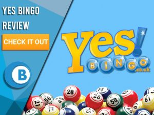 "Blue background with Bingo Balls and Yes Bingo logo. Blue/white square to left with text ""Yes Bingo Review"", CTA below and Boomtown Bingo logo."