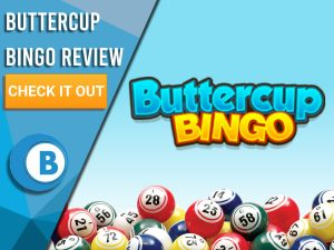 "Blue/white background with bingo balls and Buttercup bingo logo. Blue/white square to left with text ""Buttercup Bingo Review"", CTA below and Boomtown Bingo logo,"