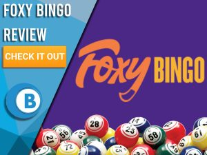 "Purple background with bingo balls and Foxy Bingo logo. Blue/white square to left with text ""Foxy Bingo Review"", CTA below and Boomtown Bingo logo."