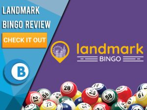 "Purple background with Bingo Balls and Landmark Bingo logo. Blue/white square to left with text ""Landmark Bingo Review"", CTA below and Boomtown Bingo logo."