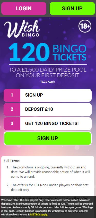 Wish Bingo Mobile App