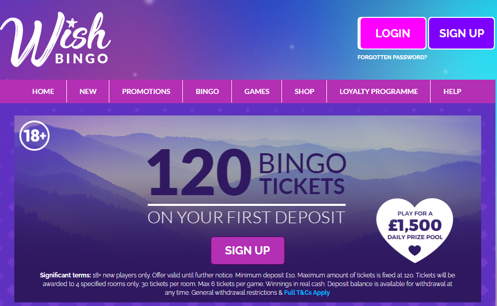 Wish Bingo Sign Up Offer