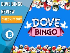 "Blue background with bingo balls and Dove Bingo logo. Blue/white square to left with text ""Dove Bingo Review"", CTA below and Boomtown Bingo logo beneath."