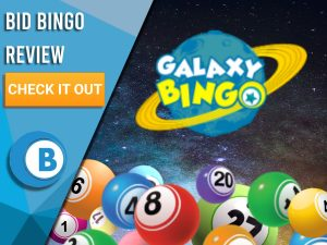 """Space background with Bingo balls and Galaxy Bingo logo. Blue/white square to left with text """"Galaxy Bingo Review"""", CTA below and Boomtown Bingo logo underneath."""