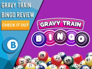 "Purple background with Bingo Balls and Gravy Train Bingo logo. Blue/white square to left with text ""Gravy Train Bingo Review"", CTA below and Boomtown Bingo logo."