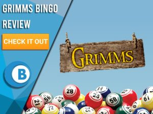 "Blue background with bingo balls and Grimms bingo logo. Blue/white square to left with text ""Grimms Bingo Review"", CTA below and Boomtown Bingo logo."