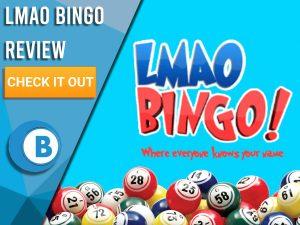"Blue background with bingo balls and LMAO Bingo logo. Blue/white square to left with text ""LMAO Bingo Review"", CTA below and Boomtown Bingo logo."