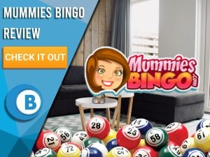 "Background of living room with bingo balls and Mummies Bingo logo. Blue/white square to left with text ""Mummies Bingo Review"", CTA below and Boomtown Bingo logo beneath."
