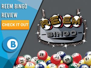 "Gray background with Bingo Balls and Reem Bingo logo. Blue/white square to left with text ""Reem Bingo Review"", CTA below and Boomtown Bingo logo."
