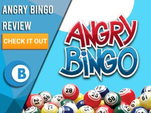 """Light Blue background with bingo balls and Angry Bingo logo. Blue/white square with text """"Angry Bingo Review"""", CTA below and Boomtown Bingo logo."""