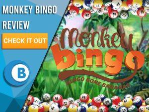 "Background of jungle with bingo balls, and monkey bingo review logo. Blue/white square with text to left ""Monkey Bingo Review"", CTA below and Boomtown Bingo Logo underneath."